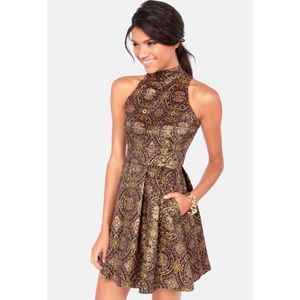 BB DAKOTA | Barker Metallic Brocade Dress | 8